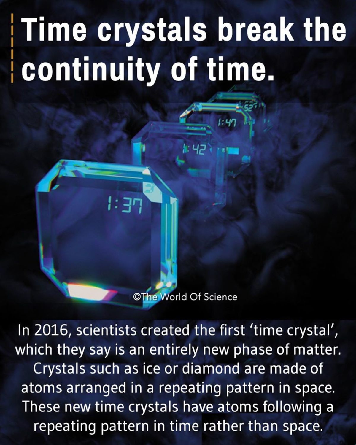 Time Crystals. Time crystals were first theorized in 2012 by Nobel laureate Frank Wilczek. After enough discussion and fleshing out by other theorists, the expe