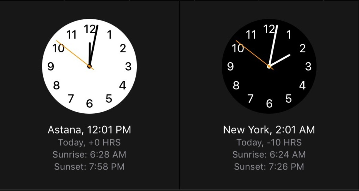 Time differences. Left-Kazakhstan;right-America. 10 2 9 12 3 755 Astana, 12: 01 PM New York, 2: 01 AM. For my fellow Americans The world's largest landlocked country and I had no idea where the it was I don't know if that says something about my or the public edu
