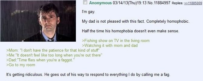 Time flies. . I Anonymous ) 1 3: 13 Replies: >} My dad is not pleased with this fact. Completely homophobic. Havethe time his homophobia doesn' t even make sens