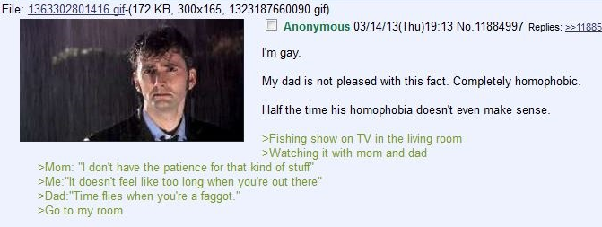 time flies. . File: KB, 300x165, ) I Anonymous (( Thu) Replies: >: My dad is not pleased with this fact. Completely homophobic. Havethe time his homophobia does