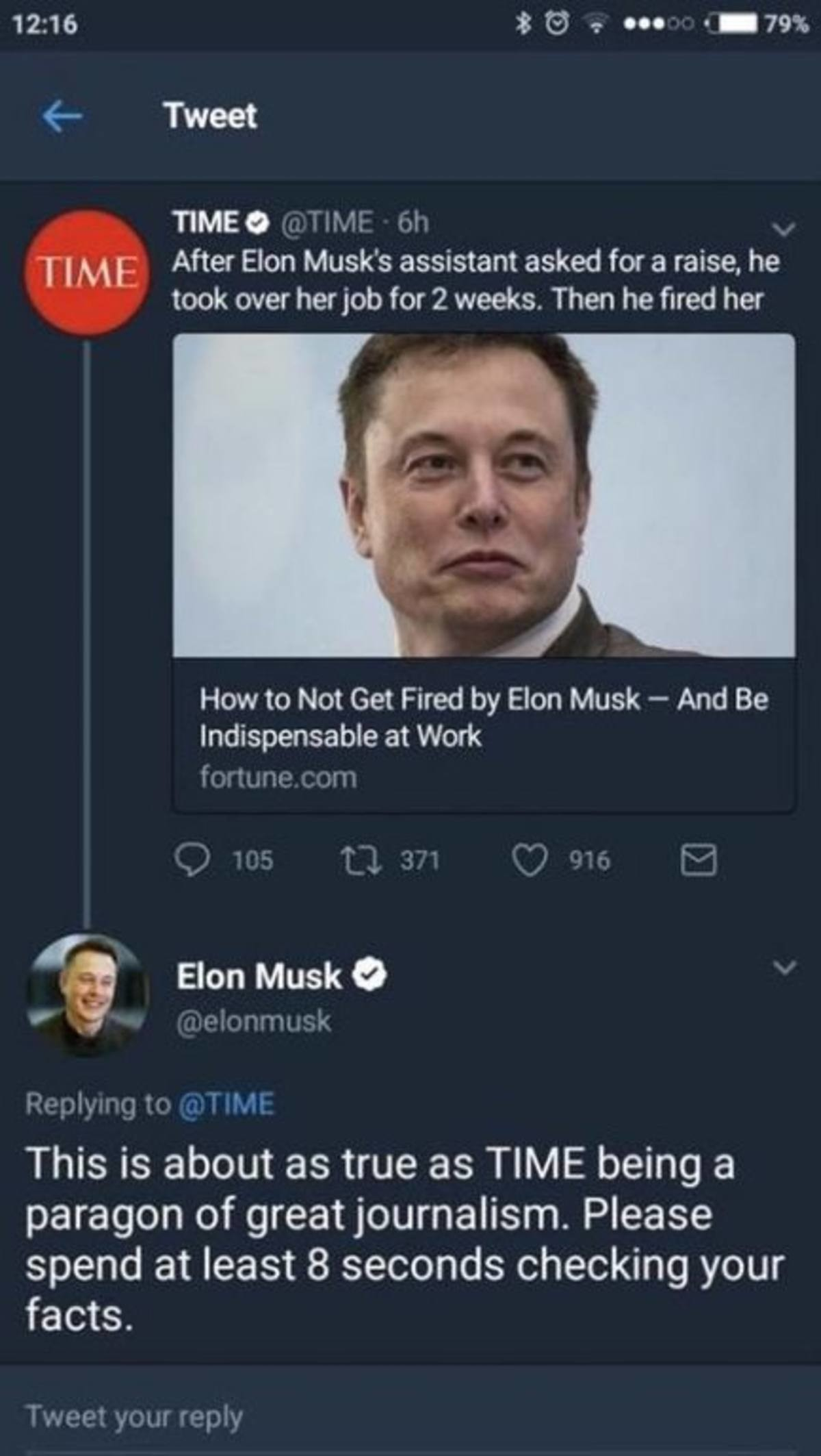Time Magazine. join list: ElonMusk (796 subs)Mention History. w Tweet TIME TIME After Elon Musk' s assistant asked for a raise, he took over hanjob for 2 weeks.