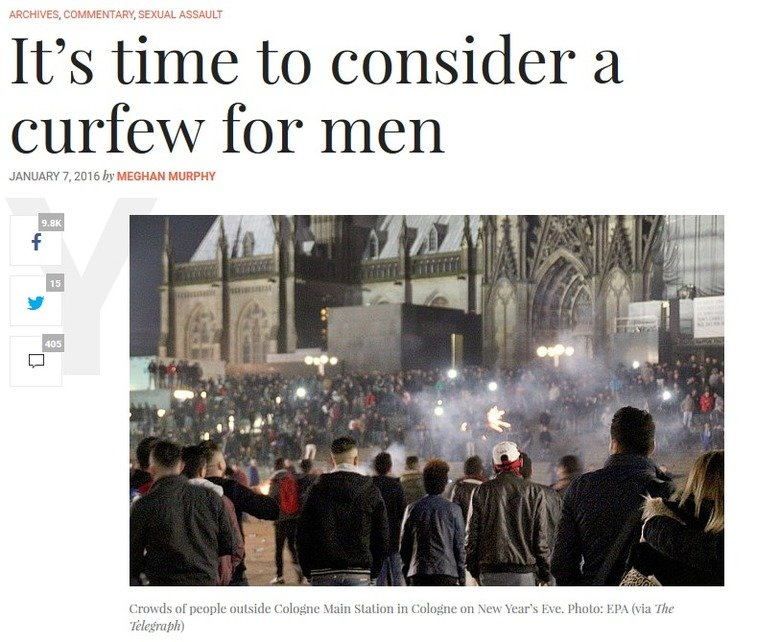 Time to consider giving men a curfew. But wouldn't giving women a curfew accomplish the same thing but be even easier, what with the Patriarchy supporting that?