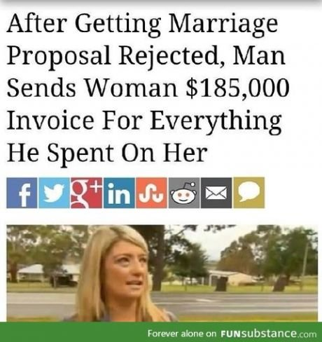 """time to pay. . After Getting h/ carriage Proposal Rejected, Man Sends Woman , 000 Invoice For Everything He Spent On Her r"""" Allitle! ii!!. Jeez. After spending all that cash and not figuring out she doesn't want to marry you before you ask is a bit sad. And seeing how much a of a petty dick he is,"""