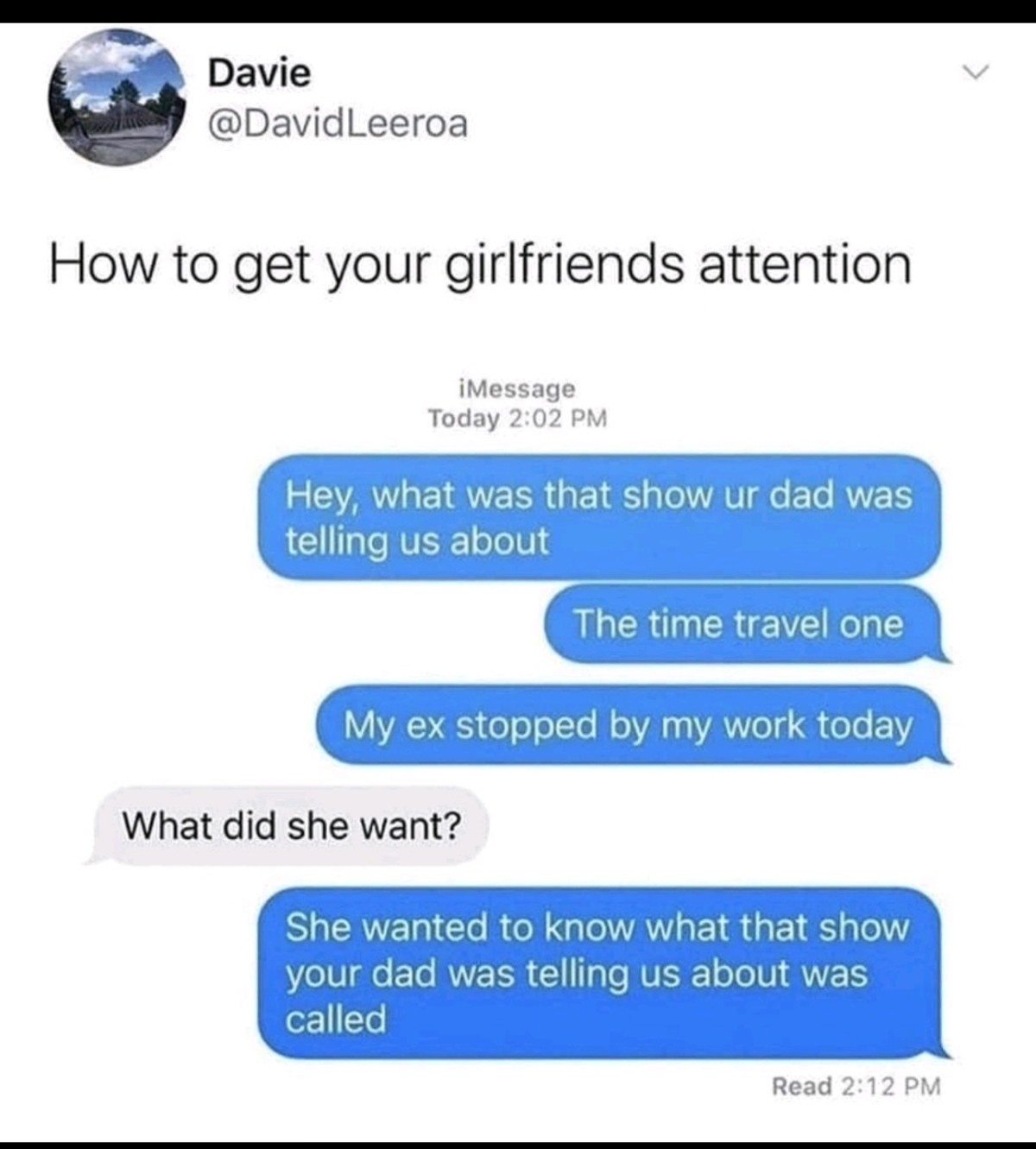 Time Travel. .. Alternatively, you can just give people a little time to answer. The whole conversation apparently only took 10 minutes.