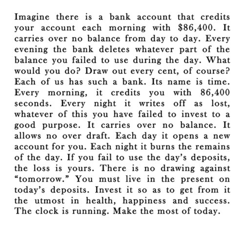 Time. or ill just stay on funnyjunk.... Imagine there is a bank account that credits your account each morning with , 400. It carries over no hananko from day t