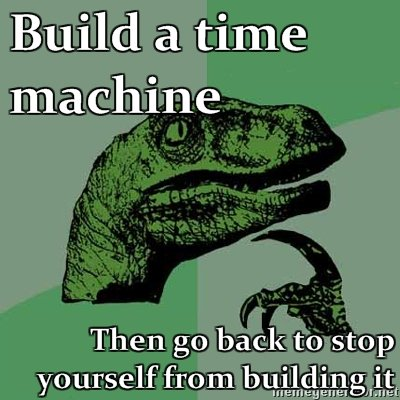 "Time machine?. this equals deviding by zero.. Build a. time machine Then get back to stop. I guess the time machine will never be built, because it's already ""precalculated"" that someone will come to stop you from building it. Those question"