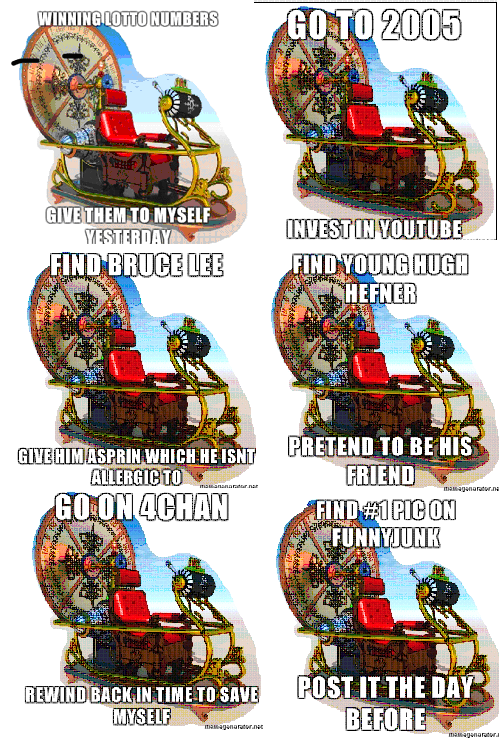 Time Machine Meme pt 2. I was asking for too much last time, so +10 thumbs for another, with your suggestions in the comments. ICT