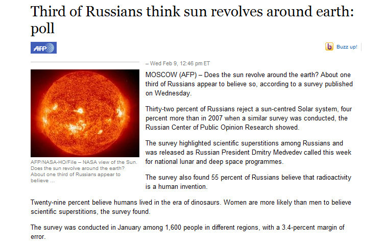 """Title. In Soviet Russia... you're a dumbass.. Third of Russians think sun revolves around earth: AFF.' NASALY O. -""""File - NASA view of the Sun. Does the sun .:"""