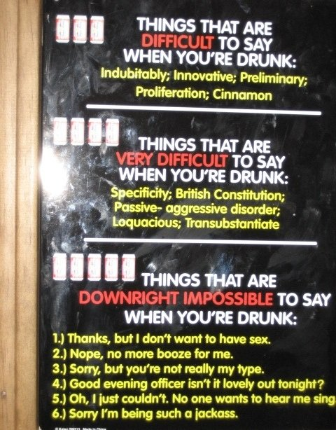 Title. probably a repost, but oh well. T' TO SAY WHEN YOU' RE DRUNK: 1.} Thanks, but I don' t want ht have sex. 24 Nope, no more booze for me. 3. kkm but you' r