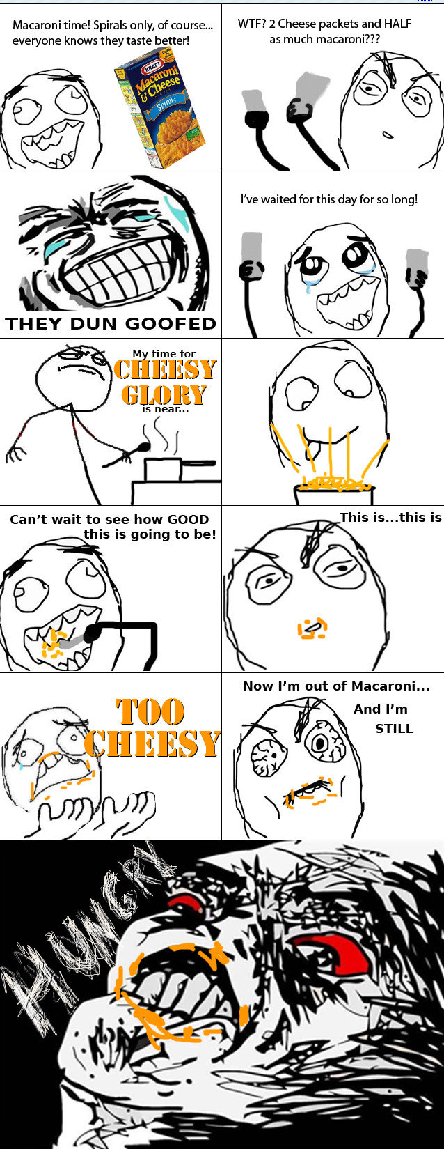 To much cheese. check out my profile for more<br /> R.I.P. ForGood, you were a good person. Macaroni time! Spirals only, of course... WTF? 2 Cheese packet
