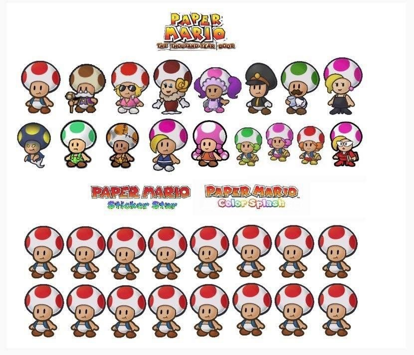 Toads. .. i think i heard something about Miyamoto specifically not liking unique designs for the different characters in mario games, could be complete but i would be di