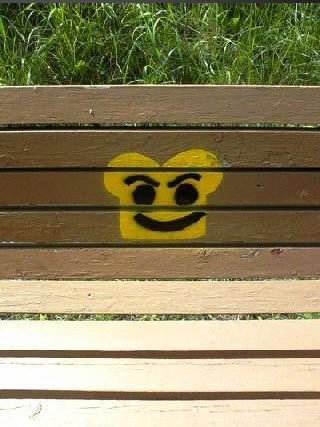 Toast. I was going for a walk on one of my town's walking trails and saw this painted on a bench it made me think of toast so I took a picture of it with my cel