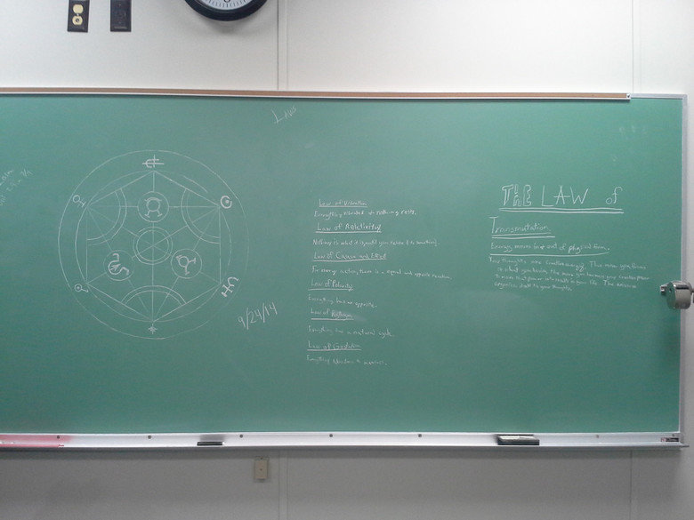 Today at college.... Was the first into class this morning. Saw this and felt inspired for some reason... Its from Full Metal Alchemist. Or at least referencing it