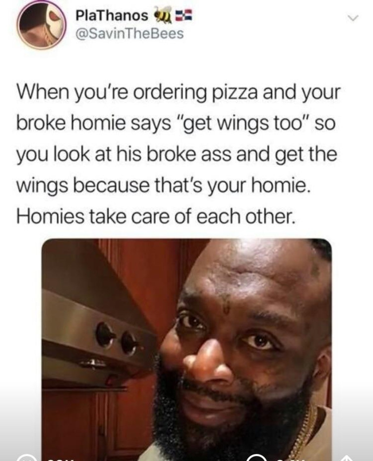 Today for you, tomorrow for us!. if given the opportunity i will always pay for my homies food! .. And i'm that broke but except it hurts when i take charity