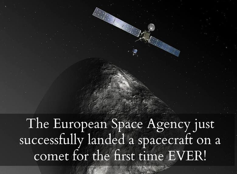 Today history has been made. After departing from the Rosetta orbiter this morning, touchdown of the robotic lander, Philae, onto Comet 67P/Churyumov-Gerasimenk