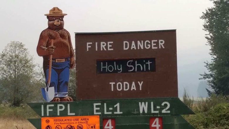 Today in Oregon. .. from oregon, can confirm we sprayed our mulch with water and it still caught fire