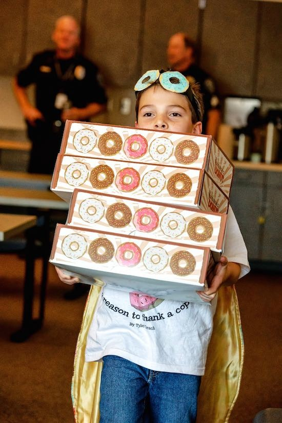 "Today in Wholesome: ""Donut Boy"" shows appreciation to officers. ""Donut Boy"" donates over 7,000 donuts to Law Enforcement to show his gratitude Tyler C"