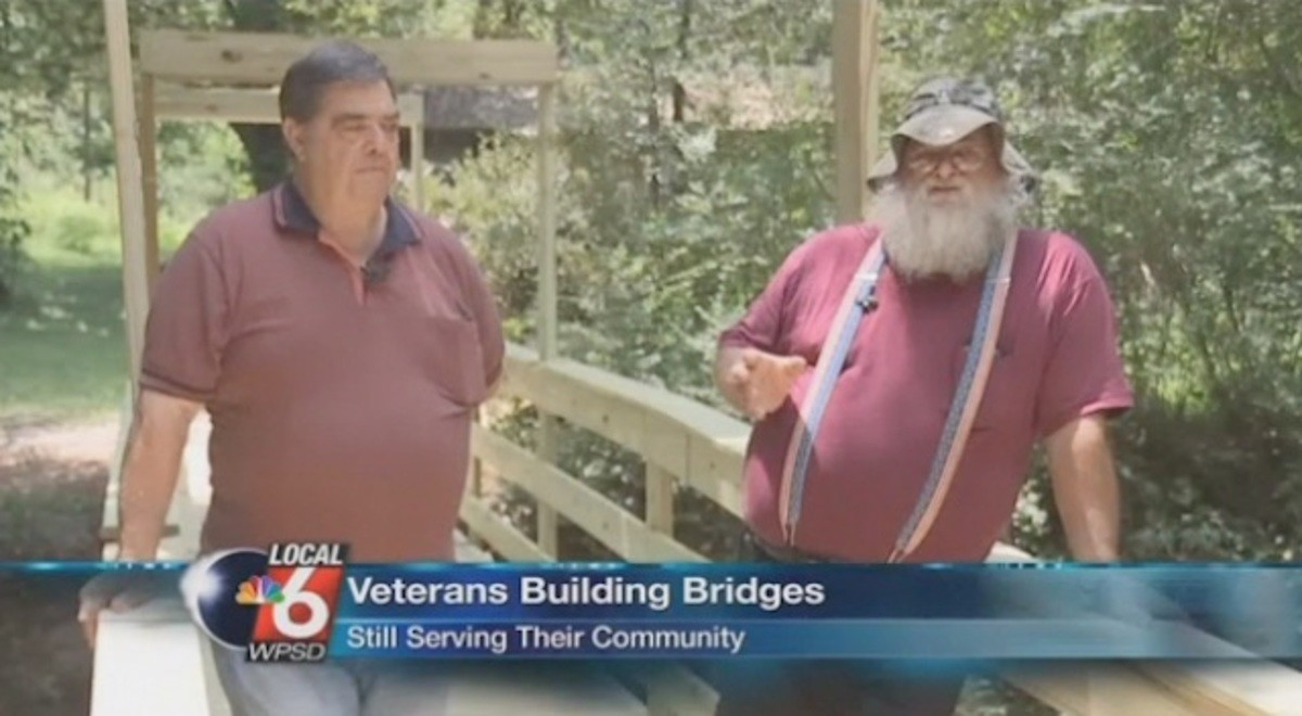 Today in Wholesome: Veterans building bridges. Veterans Build Bridge for Family's Wheelchair-bound Mother These two veterans weren't about to let a local widow