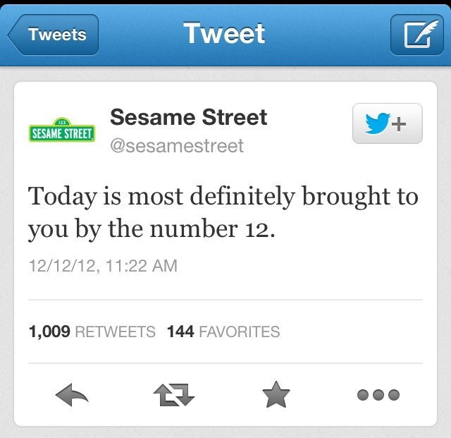 Today is brought to you by. Sesame Street. Tweet gettit Sesame Street tirer Today is most definitely brought to you by the number 12, 1, 009 RETWEETS 144 FAVORI