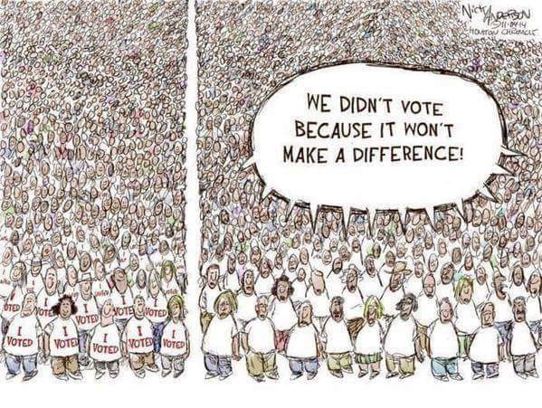 today is National Voter Registration day. Do your part?. Linell ' in' M: DIDN' T VOTE BECAUSE IT worm MIKE A DIFFERENCE!. I'm voting, but unfortunately I live in Commiefornia, so the electoral vote's going to the Democrats anyway.