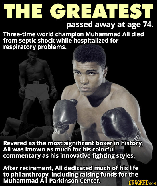 today on 6/7/16. . THE GREATEST passed away at age 74. world champion Muhammad Ali died from septic shock while hospitalized for respiratory problems. Revered a