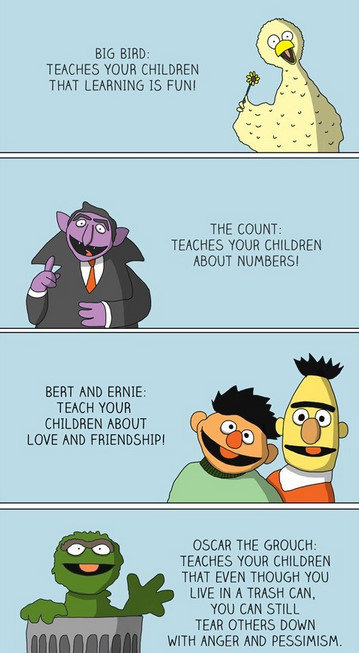 """Today on sesame street.. Yay!. TENCH'S YOUR CHILDREN At P. THE COUNT: TEMHYS """" CHILDREN BERT ANI) ERNIE: TIMH THUR CHILDREN LOVE OSCAR THE : TEHEEHEE THUR THAT"""