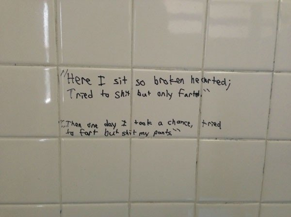 "Toilet Top Poetry. .. ""They thought a new paint coat could silence my pen ,but the house poet strikes again"""