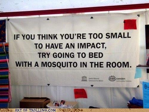 Too Small for an Impact. . IF YOU THINK ' fte TOO SMALL TO HAVE AN IMPACT, TRY GOING TO BED