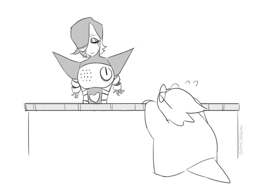 Too. . .smol. . .. My most fav thing in the universe is when ppl draw Alph so small, she needs to be ON the table to fix Mettaton. Ill'. I have nothing relevant to post.