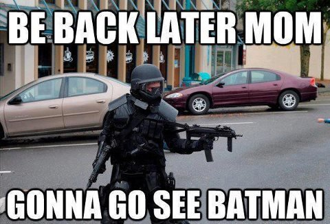 too soon?. NEVER!. manna an SEE. Wake up in the morning feeling like the Joker Grab my guns I'm out the door, I'm gonna hit this movie Before I leave, rig my house with some booby traps 'Cause