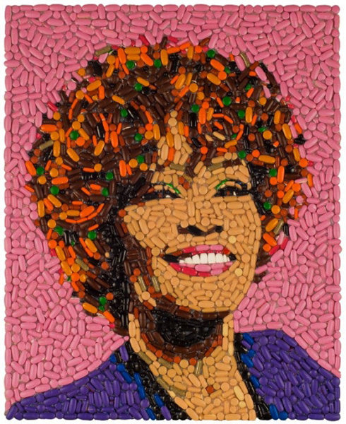 Too soon?. Whitney Houston Portrait Made Out of Pills... I dont see the difference