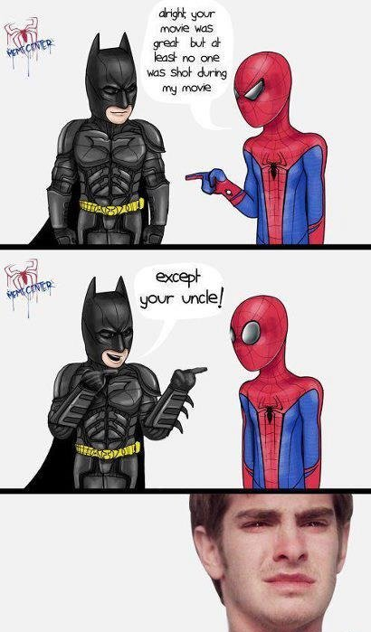 Too soon?. .. I'm sorry Batman, could you repeat that, I didn't hear that over the sound of your parents being brutallty murdered in front of your eyes.