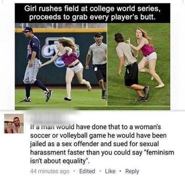 too true. . Girl rushes field at college world series, proceeds to grab every player' s butt. TI a man would have done that to  woman' s soccer or volleyball
