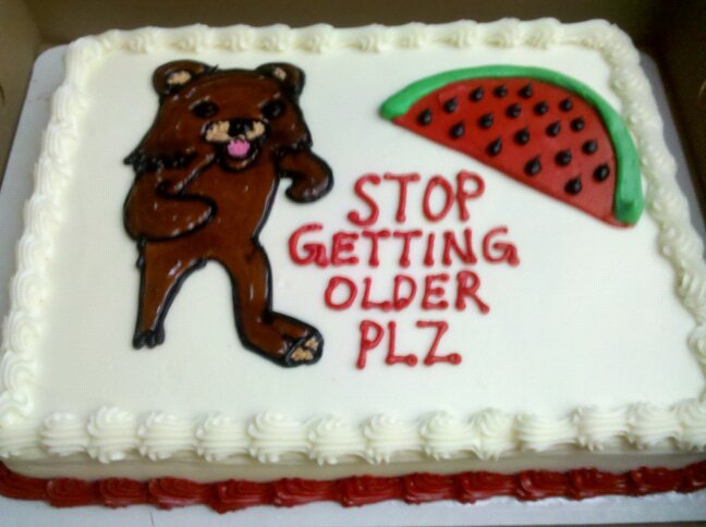 TOO OLD. .. Is PedoBear a black bear?? Because this picture can come off as racist with the watermelon in the corner and all...