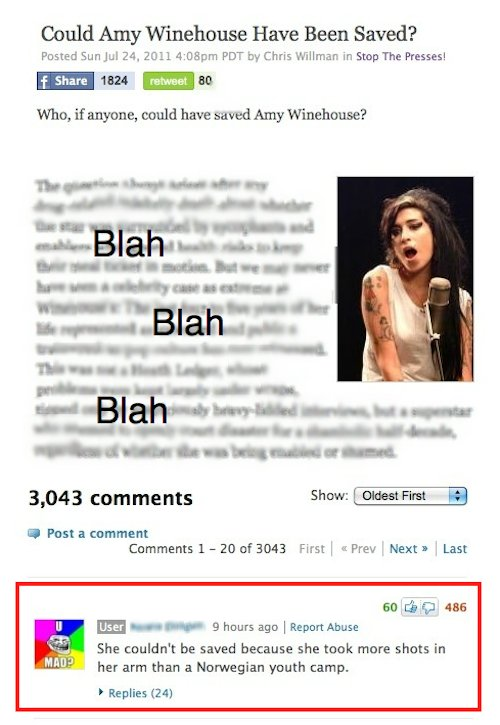 Too Soon?. Trolololol. Could Amy Winehouse Have Been Saved? Posted Sun Jul: 24. : PDT by Chris wallmart, in Stop The Presses! Who, if anyone. mold have saved Am