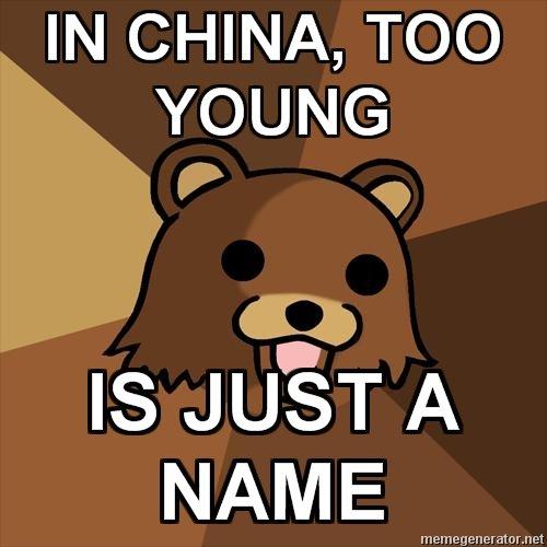 too young. . Ital CHINA, TOO YOUNG metta. fjbum 'itor,. tti. u. i'. its true