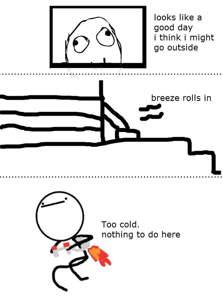 Too cold. everytime i try to go outside. looks like a good day i think i might go outside Too cold, nothing to do here