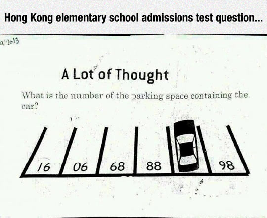 """took me longer than I'd like to admit. . Hung Kong elementary admissions test question... A Lottos Thought What as rim . of the paah"""" uag space. containing the"""