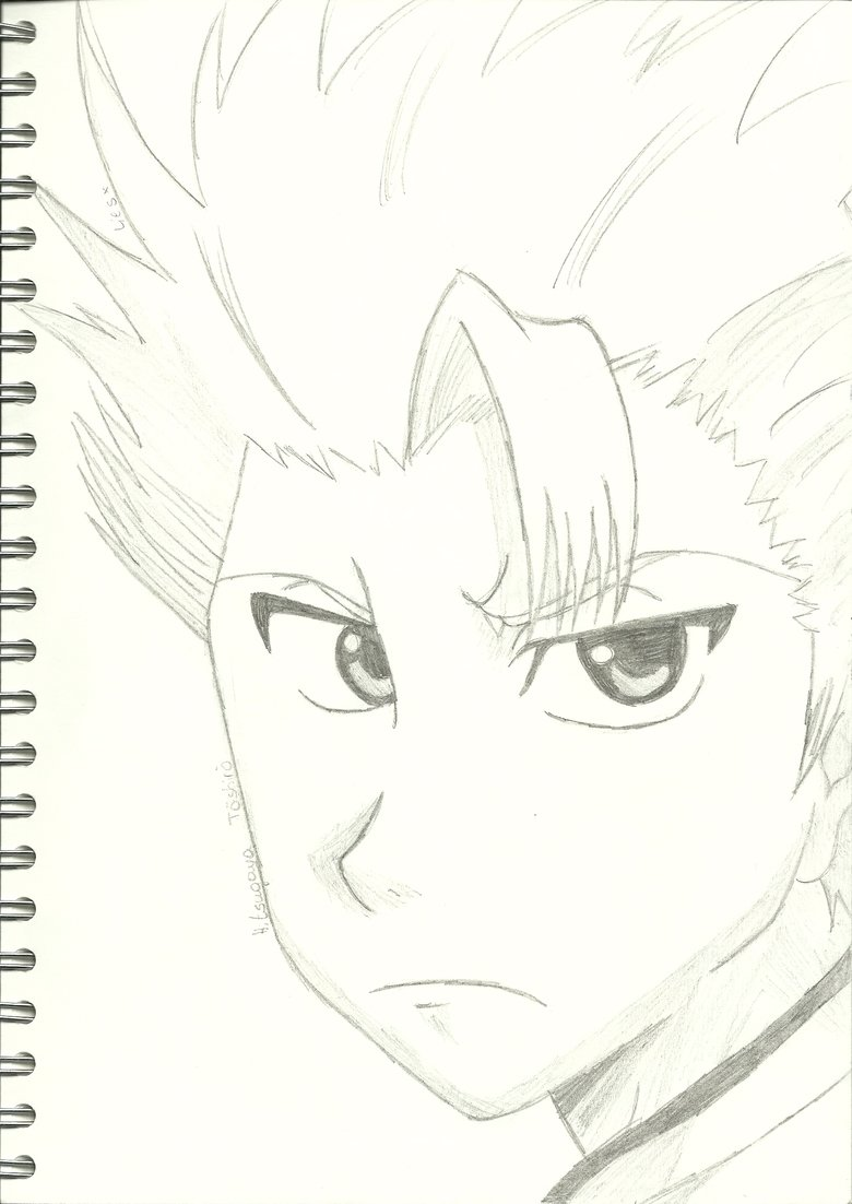 Toshiro Hitsugaya. I've been watching Bleach and I decided to draw one of my favorite characters .. This drawing is awesome! Please, don't ever stop drawing. You have talent, and even though you might not quite be there yet, you will become something big.