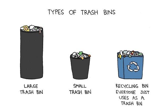 Trash Bins. Credit to poorlydrawnlines.com. LAME TRISH BIN TYPES; CF TRASH BNA BIN EUE' K' JUST USES Ni; H TRASH EN
