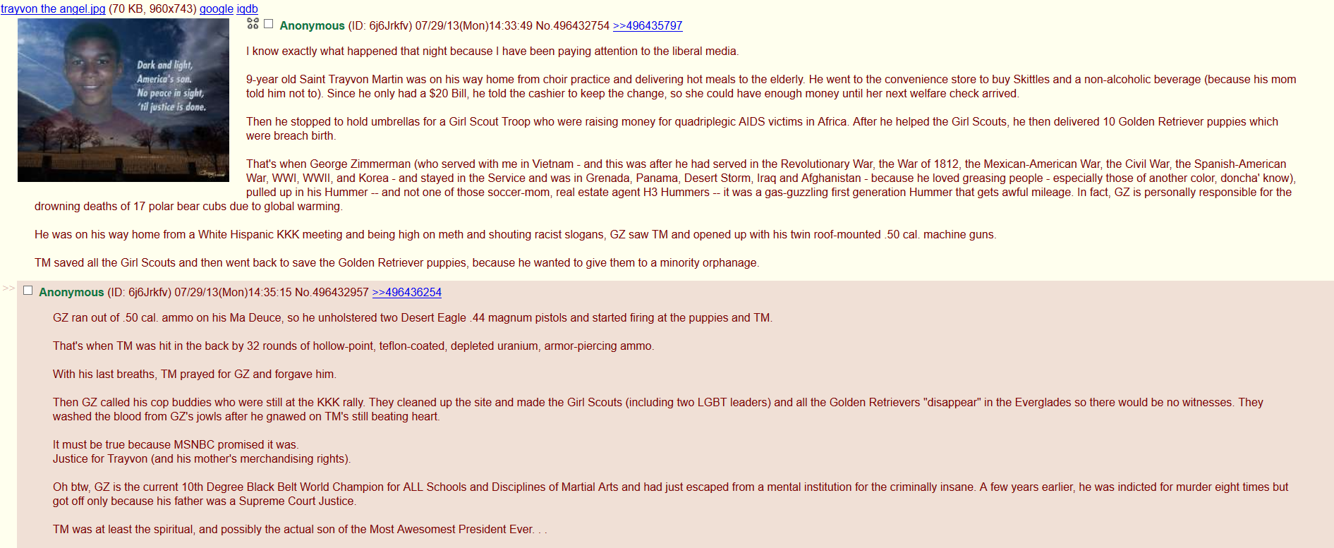 Trayvon the Angel. description. Caueto_ n the anger. igg (70 KB, 960x743) gewgle iqdb I know exactly what happened that night because I have been paying attenti