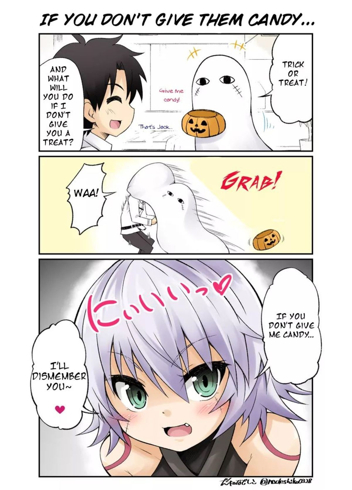 Trick or Treat?. join list: SmolHol (1473 subs)Mention History join list:. What do you do you when a trick or treating ghost gives you this look.