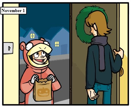 Trick or Treat?. Poor slowpoke.. if that kid exists, he is my favorite kid of all time.