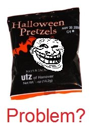 Trick or treating. I hate cheap that passed these out.. Problem?. Im gonna put my flameshield up right now just in case.... But after eating so much sugar and chocolate and all that, this stuff can really taste good because of