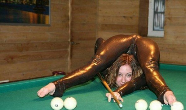 Trick Shot. Imagine what she could do with your balls?.. she would make guys stain the pool table