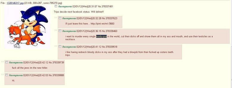 Trips. Only on 4chan. File z 13281_ 317. jpg-( 23 KB, 300x287, . jpg) Cl Anonymous 12/ C) 1/ 12() h/ ed) . 31: 57 No. 378337481 Trips decide next facebook statu