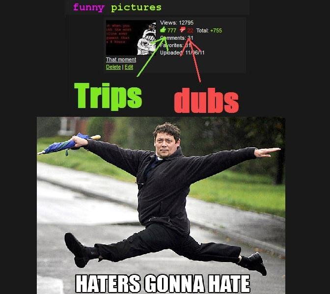 Trips > dubs. Haters gonna hate.... pictures 12795,, mineuts: v, Y Th at mo ment Delete '/ rt