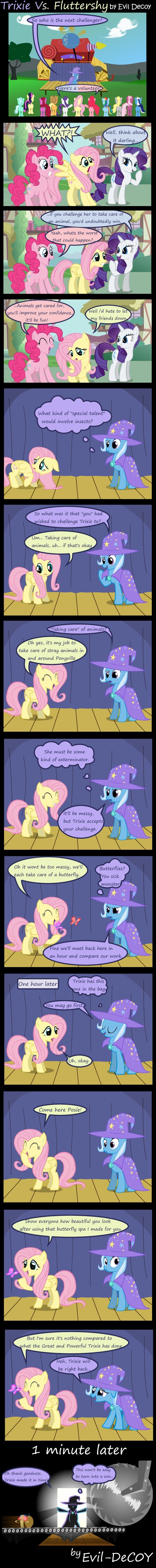 trixie vs fluttershy. last comment wins!.. let's see what you got trixie