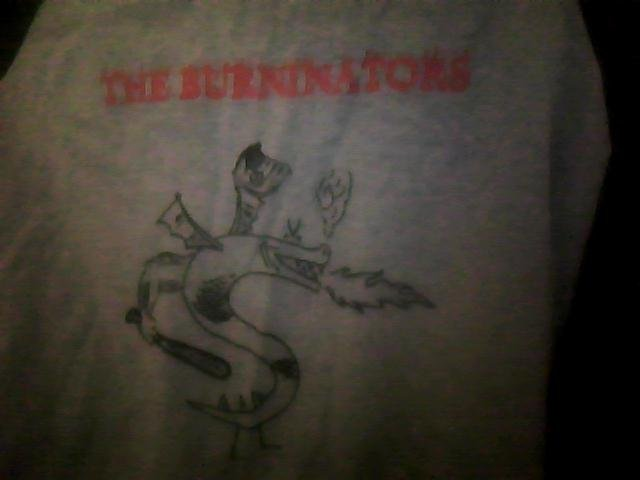 Trogdor. Found this shirt at the local thrift store, just thought I'd share. It looks like an old baseball shirt.