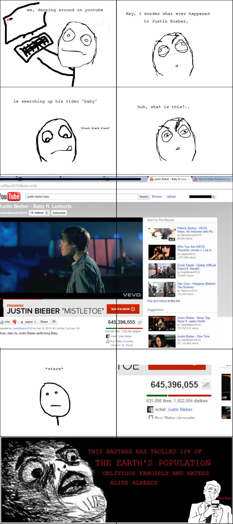 Troll Bieber. my first comic . me, dar ing around an youtube Hey, I wonder what ever happened ta Justin Either, searching up his video 'baby' huh, what is this'